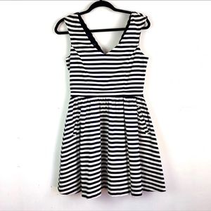 Zara Nautical Navy/White Striped Fit & Flare Dress